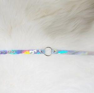 New Silver Holographic Choker Necklace Shiny Holo
